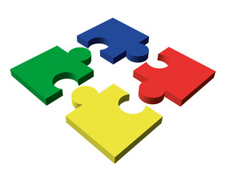 Four-piece color puzzle