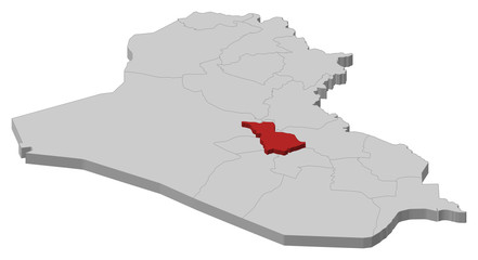 Map of Iraq, Babil highlighted