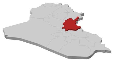 Map of Iraq, Diyala highlighted