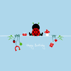 "Sitting Ladybug & Symbols ""Happy Birthday"" Blue"