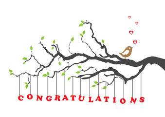 Congratulations card with bird