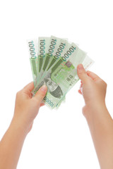 Money on hand with white background