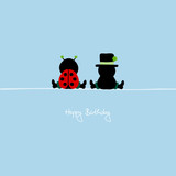 "Sitting Ladybug & Chimney Sweeper ""Happy Birthday"" Blue"