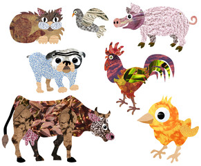 domestic and farm collage animals