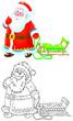 Santa Claus pulling a sleigh