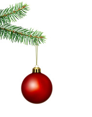 red christmas ball and fir