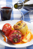 Peppers and tomato stuffed with mincemeat