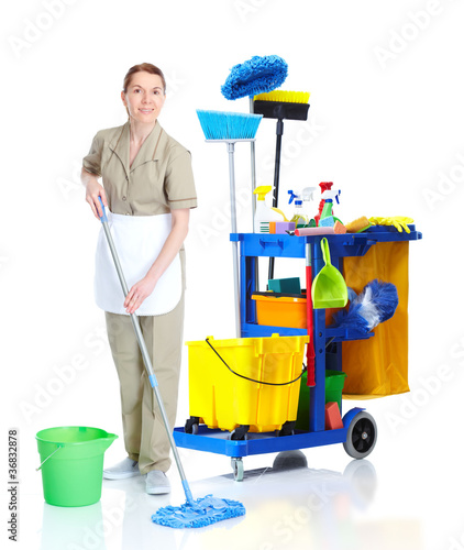 Professional cleaner woman with janitor cart.
