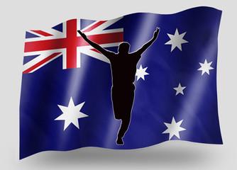 Country Flag Sport Icon Silhouette Australia Cricket Bowled
