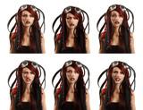 teen girl informal ciber punk emotional set facial expressions i poster