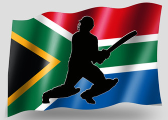 Country Flag Sport Icon Silhouette South Africa Cricket Batsman