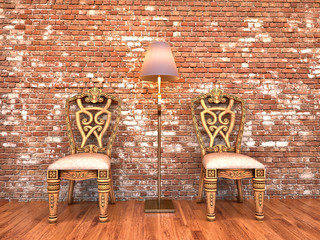 interior chairs and brick wall