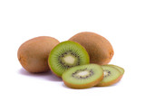Fresh piece kiwi fruit isolated on white background
