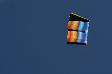 Flying kite against a blue sky