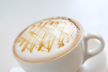 A cup of coffee with beautiful caramel