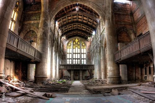 canvas print picture Sanctuary. Abandoned City Methodist Church in Gary, Indiana. HDR