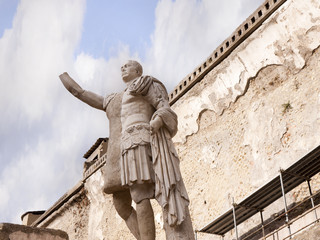 Emperor Baldo Statue in Buried City of Herculaeum Italy