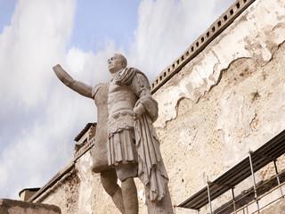 Emperor Baldo Statue in Buried City of Herculaeum Italy
