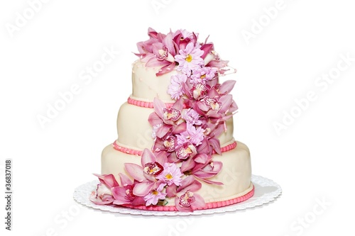 Traditional wedding cake with orchid flowers - 36837018