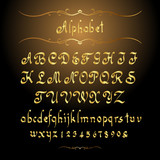Golden calligraphic alphabet