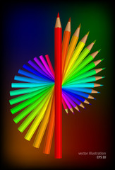 Colored pencilsl. Vector illustration set.