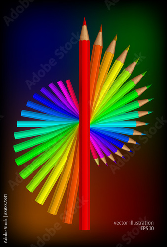 Colored pencilsl. Vector illustration set.