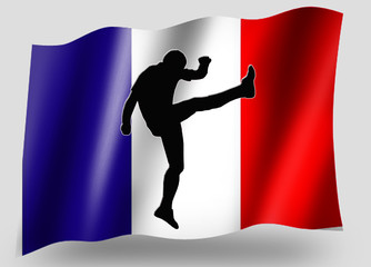 Country Flag Sport Icon Silhouette French Rugby High Kick