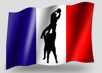 Country Flag Sport Icon Silhouette French Rugby Lineout
