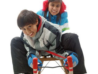 kids on a sled