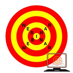 webinar, target to success icon