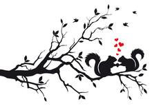 Écureuils sur l'arbre, vecteur