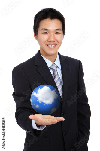 young business man holding hand presenting cloud and sky