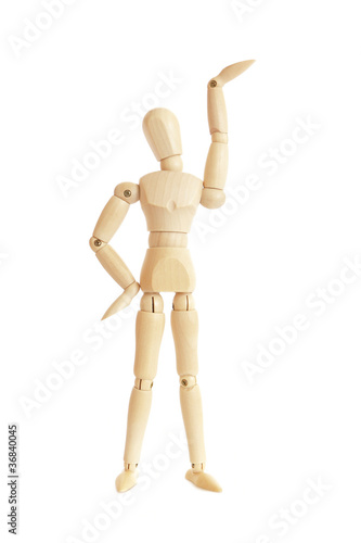 Wooden figure raising arm / hand