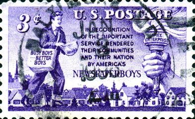 Newspaper boys. US Postage.