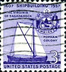 1607. Shipbuilding. 1957. US Postage.