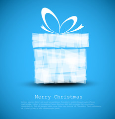 Simple blue Christmas card with a gift