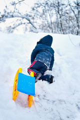 Little kid carrying a sledge uphill