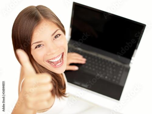 Laptop woman happy