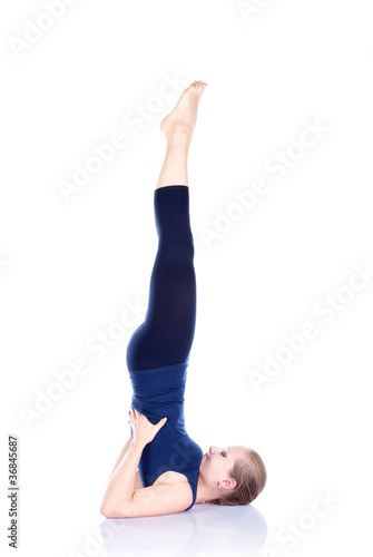 Yoga sarvangasana shoulder stand pose