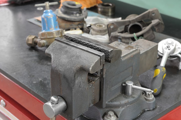 Old a vice on a workbench