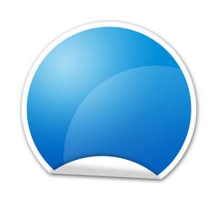Pegatina azul con reborde inferior