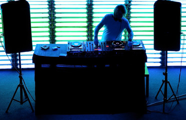 Dj playing the track in the nightclub