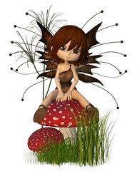 Cute Toon Autumn Fairy and Toadstool