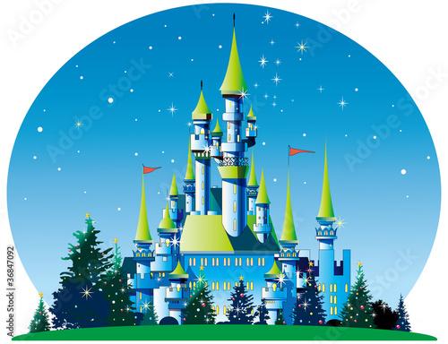 Deurstickers Kasteel クリスマスのお城