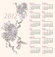 2012 calendar with floral pattern. Background with flowers and b