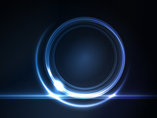 Blue glowing round frame for your text