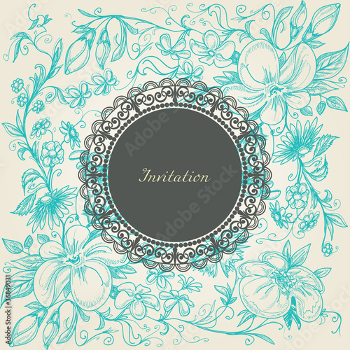 Vintage floral background lace label