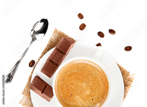cup of coffee with chocolate isolated on white background