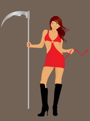 vector sexy redhead girl wearing a red evil costume