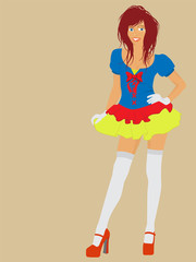 Vector redhead girl wearing a fairy costume